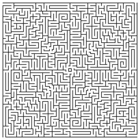 A square labyrinth top view isolated on white background. Classic Maze game. Gray maze for your business project. Four exit labyrinth. Vector illustration Vettoriali