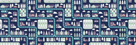 City seamless pattern top view flat design. Suburban houses and roads seamless pattern or background. Blue and violet colors. Horizontal orientation Vector Illustration 向量圖像