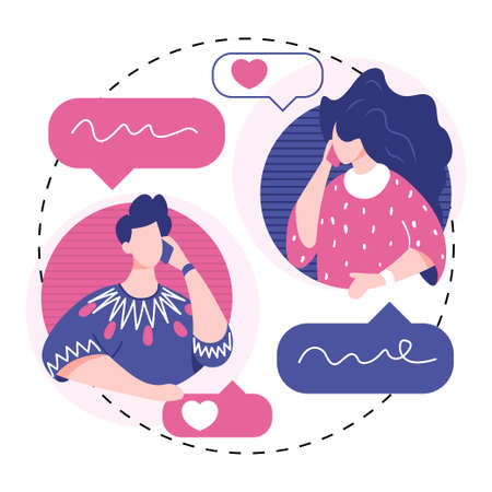 People talking phone. Love couple talking concept. Communication and conversation with smartphone. Vector illustration