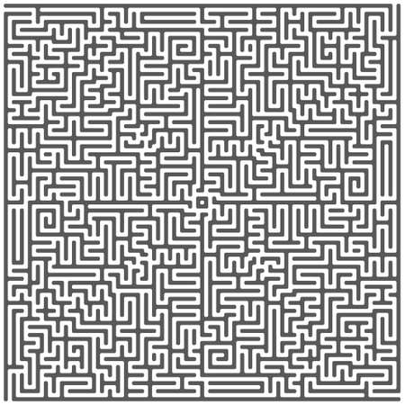 A square labyrinth top view isolated on white background. Classic Maze game. Gray maze for your business project. Four exit labyrinth. Vector illustration