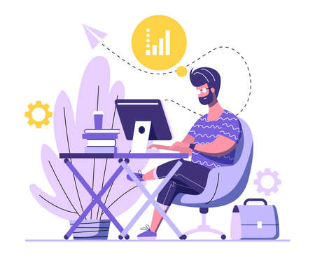 Handsome man is working on computer. A man is sitting on an armchair behind the office Desk with books and a cup of coffee and working at his computer. Working process flat design. Vector illustration