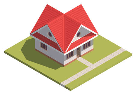 Suburban House isometry. Hyper detailing isometric view of a isolated house with a red roof. 3D family house for video games or real estate advertising. For Your business. Vetor Illustration