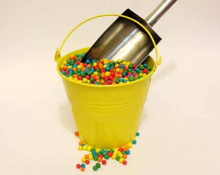 comfit: colorful candies in the pail Stock Photo