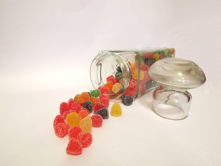 comfit: jelly candies poured from a jar