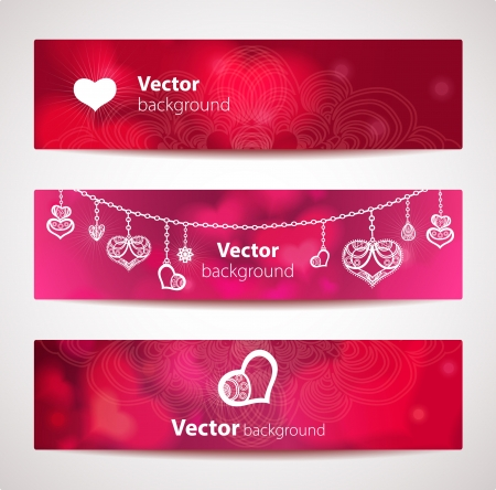Set of stylish vector headers or banners with hearts.  Çizim