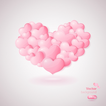 Stylish card with big heart made from many glossy hearts.