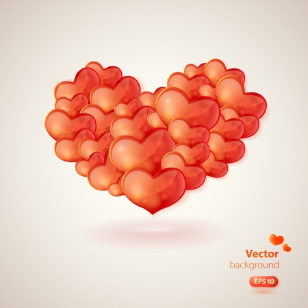 Stylish vector card with big heart made from many glossy hearts.