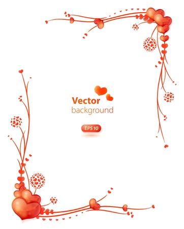 marcos decorados: marco decorado con corazones y ornamentos florales Vectores