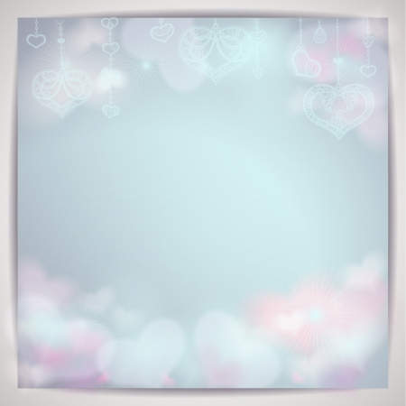 Beautiful background with blurred hearts   Illustration