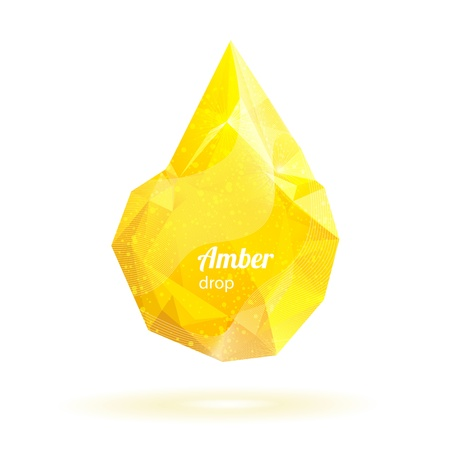 Geometric crystal yellow drop Vector