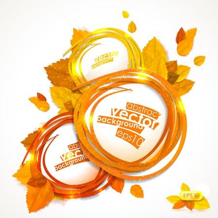 otoño: Marco del vector con la composición de las hojas de otoño