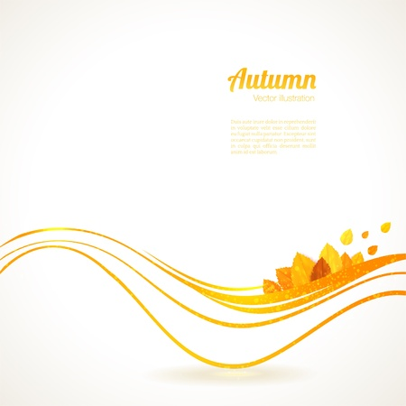 Abstract background. Orange waves and autumn leaves.