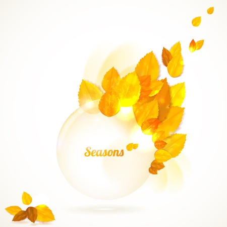 Vector card with stylish composition of autumn leaves. Vector