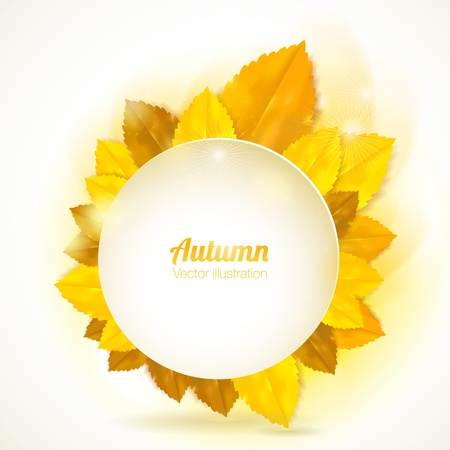 Vector natural background. Round frame with autumn leaves.