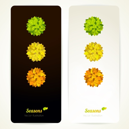 Set of vector banners with 3 round bouquets of colorful leaves. Illustration