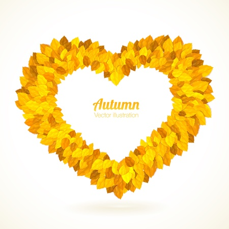 Heart shaped frame with autumn leaves. Vector illustration. Çizim