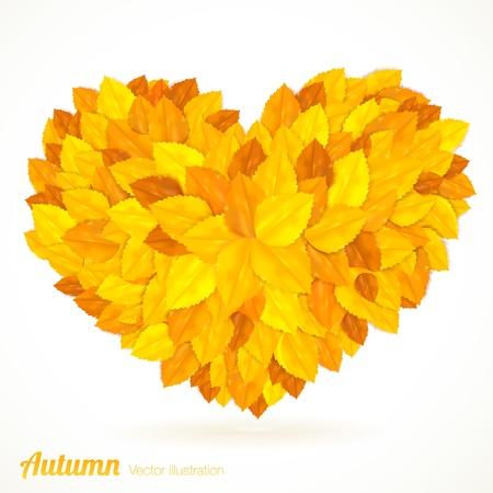 Heart symbol in autumn leaves. Çizim