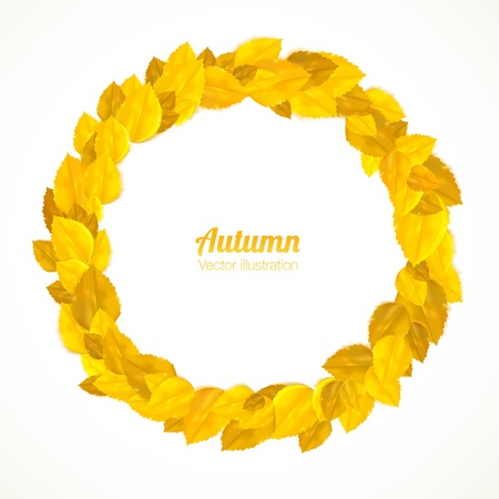 golden laurel wreath: Round frame with autumn leaves. Vector illustration.
