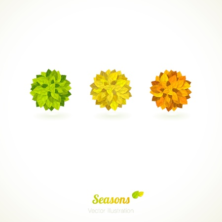 Vector card with 3 colorful (orange, yellow and green) circles of leaves. Vector