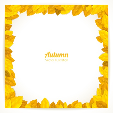 Square frame with autumn leaves. Vector illustration. Çizim