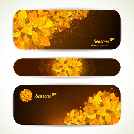 Set of vector banners with orange leaves. Autumn background. Vector