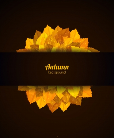 Vector card with orange leaves. Autumn background. Illustration