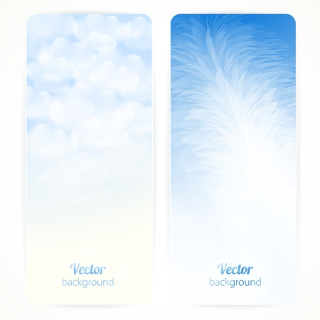 Set of abstract vector banners with feather and clouds. Çizim