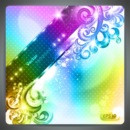 Abstract colorful background with lots of design elements.