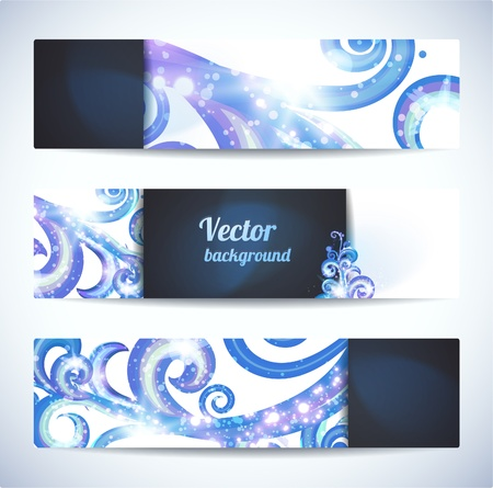 Set of three vector headers  Abstract artistic Backgrounds