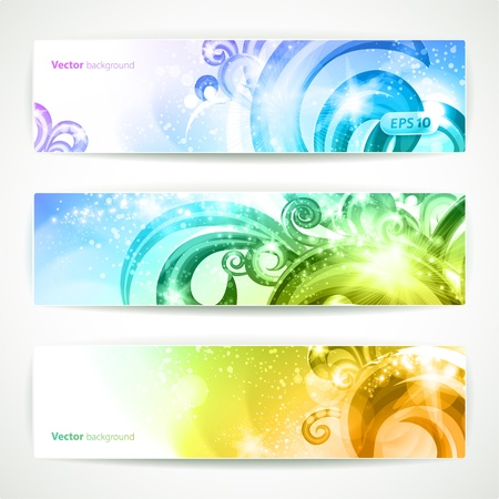 Set of three headers. Abstract artistic Backgrounds.