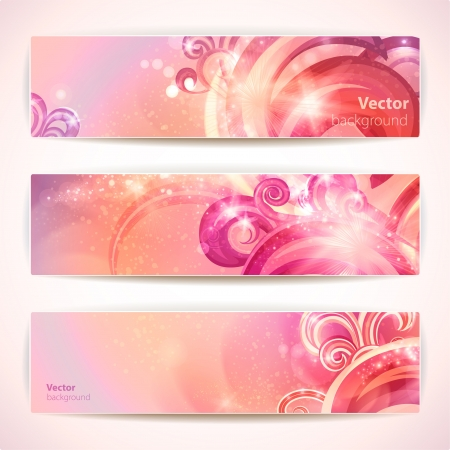 Set of abstract glamour banners with swirls.