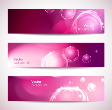 Set of pink abstract banners with bubbles.