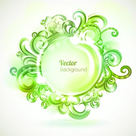 Round frame decorated with green swirls. Çizim