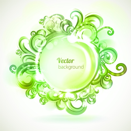 Round frame decorated with green swirls. Illustration