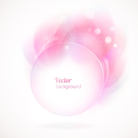 Abstract round frame with pink elements.