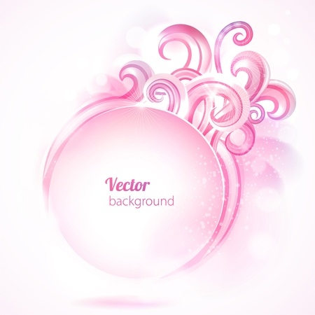 Abstract round frame with pink swirls. Vector