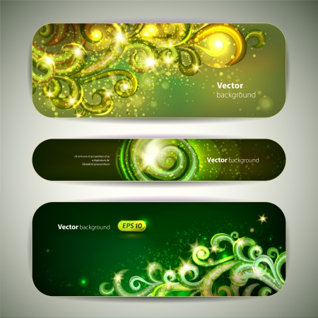 set of 3 green banners with decorative swirls. Vector