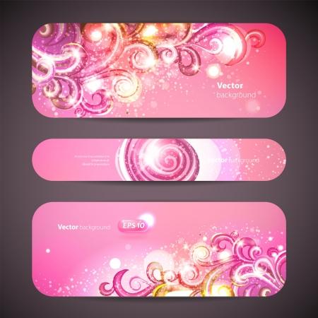 set of 3 banners with decorative swirls. Çizim