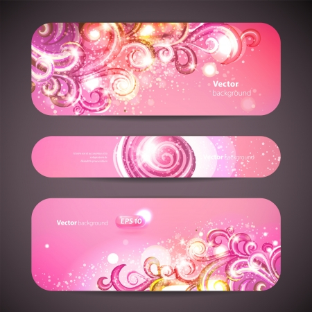 set of 3 banners with decorative swirls. Illustration