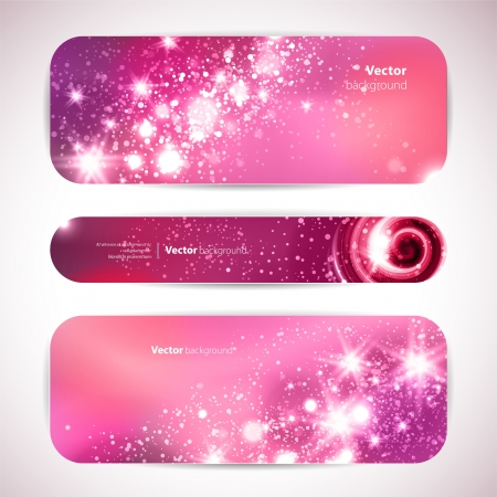 set of 3 banners with glittering and sparkling stars. Illustration
