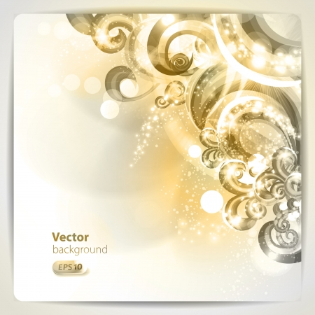 gold swirls: Abstract background with design elements. Illustration