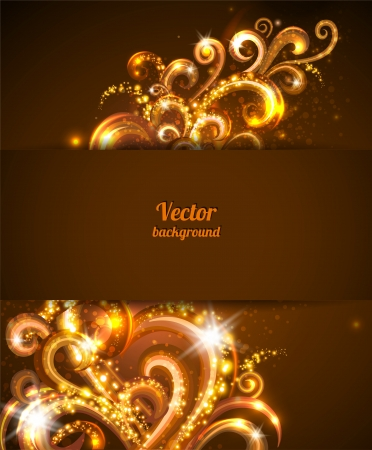 club flyer: Abstract background with gold design elements. Brochure cover template. Illustration