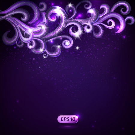 Vector card with decorative abstract sparkling swirls.