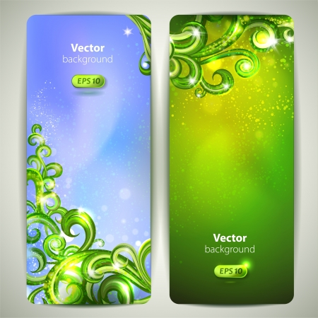 Vector set of banners with decorative glossy swirls  Vector