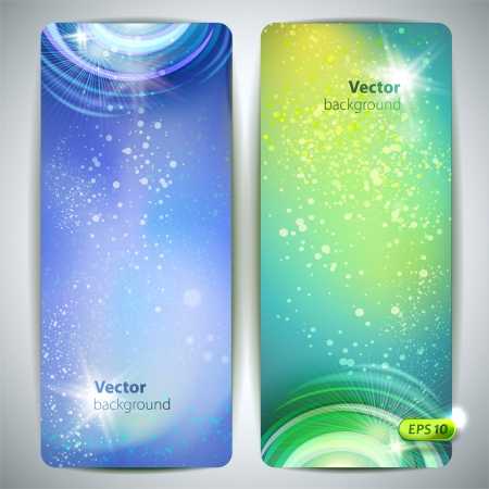 Vector set of banners with glossy vortex and sparkles