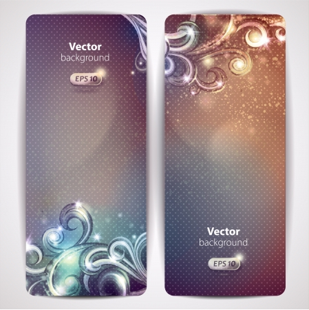 invitation party: Set of abstract glamour vector banners with swirls