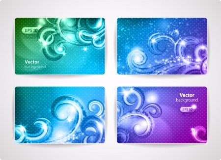Set of colorful vector business cards  credit or discount cards