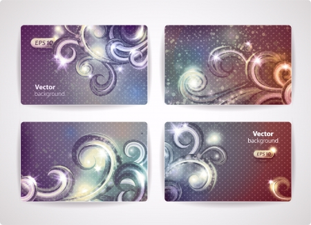 Set of vector business cards  credit or discount cards  with cute design elements   Illustration