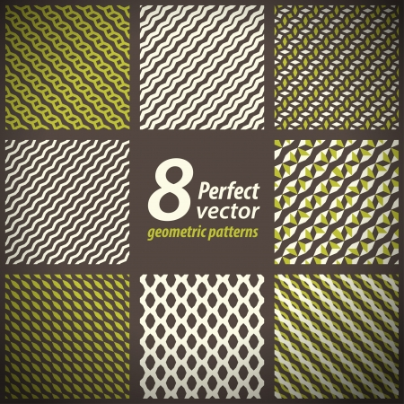 Collection of 8 seamless geometric patterns set
