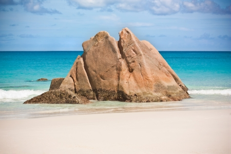Rocky beach at Seychelles - vacation background  Stock Photo